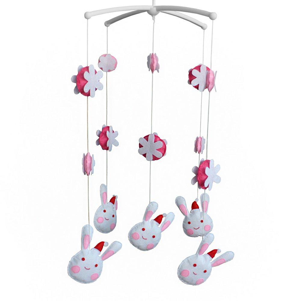 BC-BAB-ONIM0069-BELL-CELI Cute Baby Crib Bell Mobile Rotate Mobile [Lovely Rabbit]