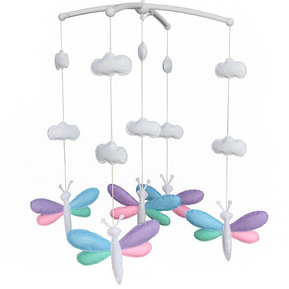 BC-BAB-ONIM0070-BELL-CELI Crib Musical Hanging Rotate Bell Ring Rotate Crib Mobile [Cute Dragonfly]