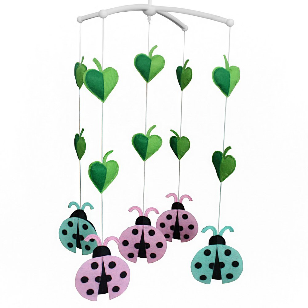 BC-BAB-ONIM0072-BELL-CELI Colorful Ladybird Crib Hanging Rotating Bell Infant Musical Mobile
