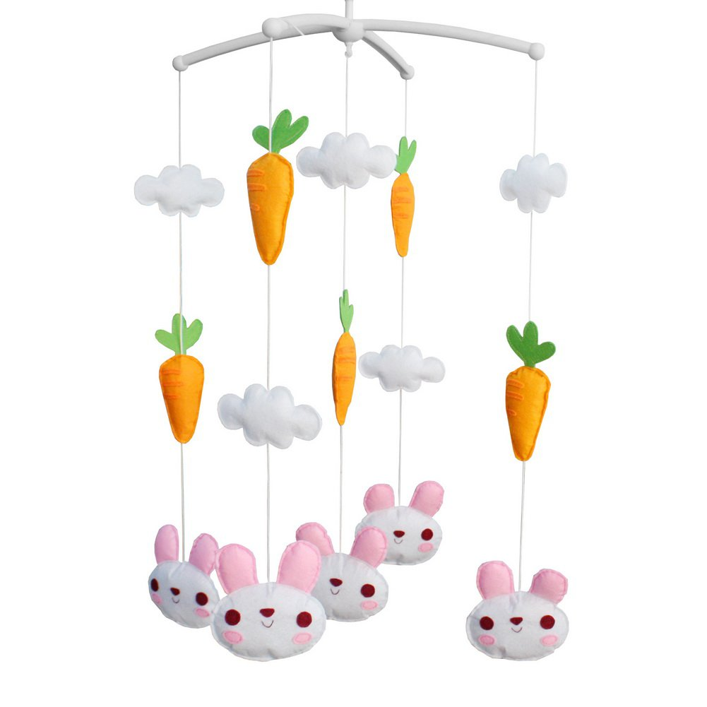 BC-BAB-ONIM0078-BELL-CELI Crib Rotate Bed Bell with Music [Rabbit and Carrot] Baby Musical Mobile