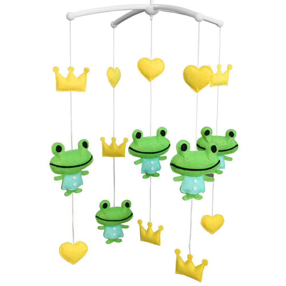 BC-BAB-ONIM0082-BELL-CELI Rotate Bed Bell for Baby [Frog and Crown] Musical Crib Mobile