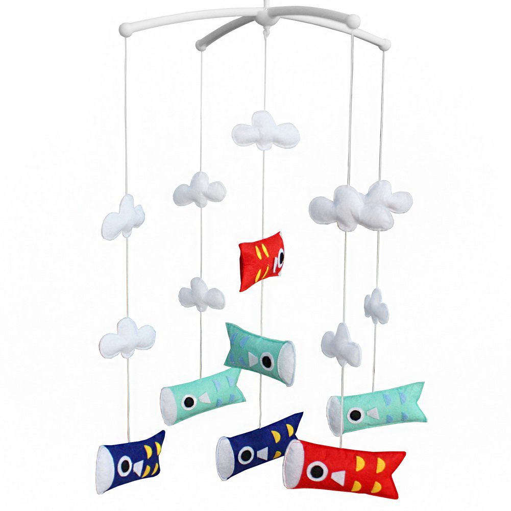BC-BAB-ONIM0084-BELL-CELI Newborn Baby Musical Toys Crib Dreams Mobile [Japanese Carp Flag]