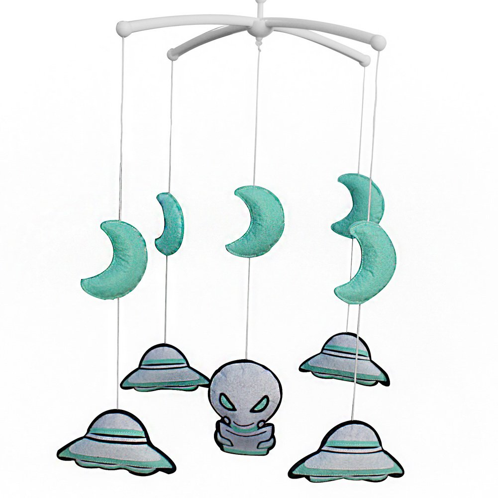BC-BAB-ONIM0086-WING-CELI Lovely Rotate Bed Toy Perfect Gift for Baby [UFO] Baby Crib Bell Mobile