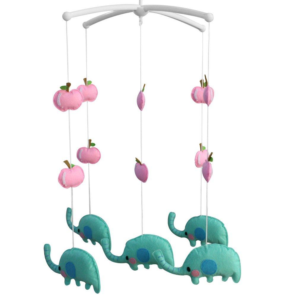 BC-BAB-ONIM0090-BELL-CELI [Happy Elephants] Handmade Rotate Crib Mobile Nursery Mobile for Baby Room