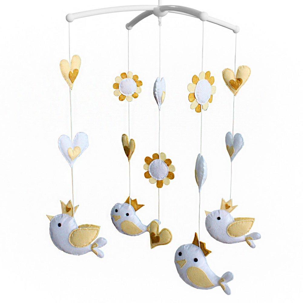 BC-BAB-ONIM0104-BELL-CELI Kids' Crib Toy Unisex Baby Crib Rotatable Musical Mobile [Flying Birds]