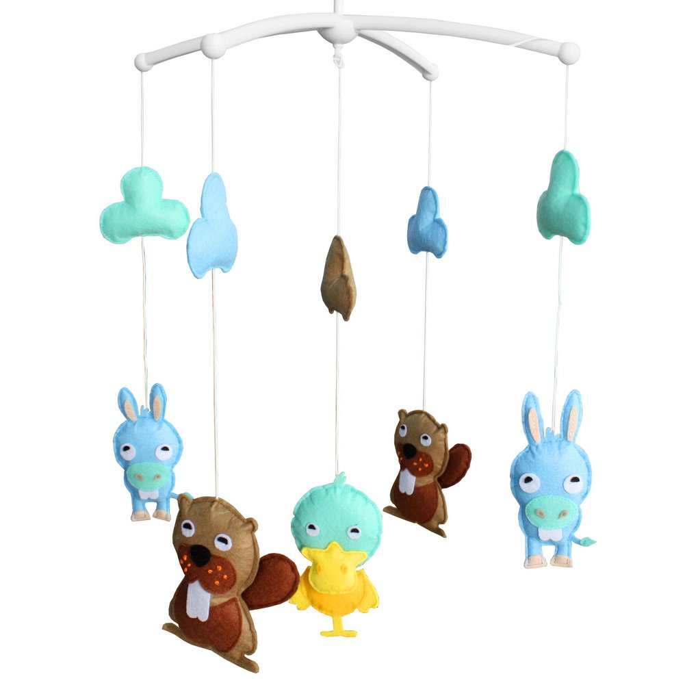 BC-BAB-ONIM0105-WING-CELI Unisex Baby Crib Rotatable Cute Animal Friends Musical Mobile