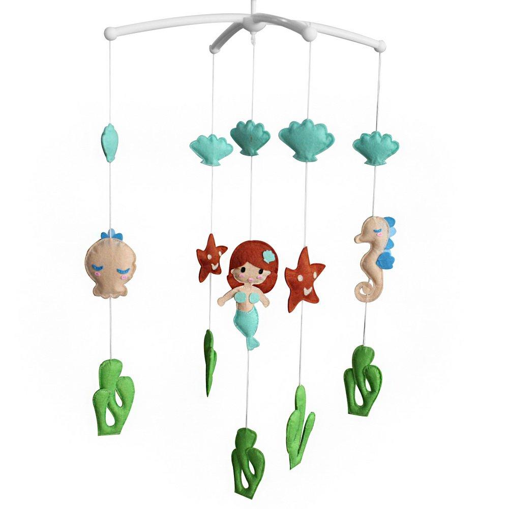 BC-BAB-ONIM0108-BELL-CELI Creative Baby Crib Rotatable Musical Mobile [Mermaid and Starfish]