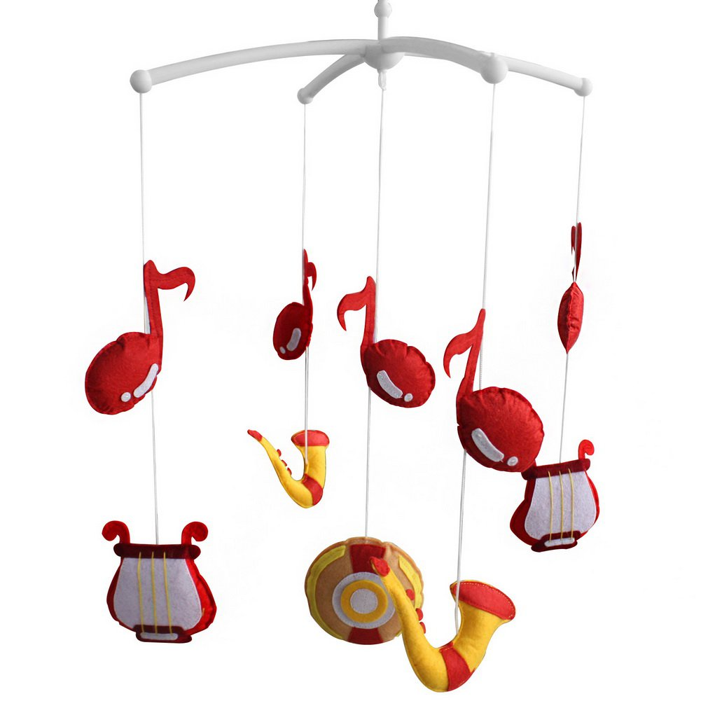 BC-BAB-ONIM0111-WING-CELI [Musical Note] Cute Bed Bell Baby Crib Rotatable Musical Mobile