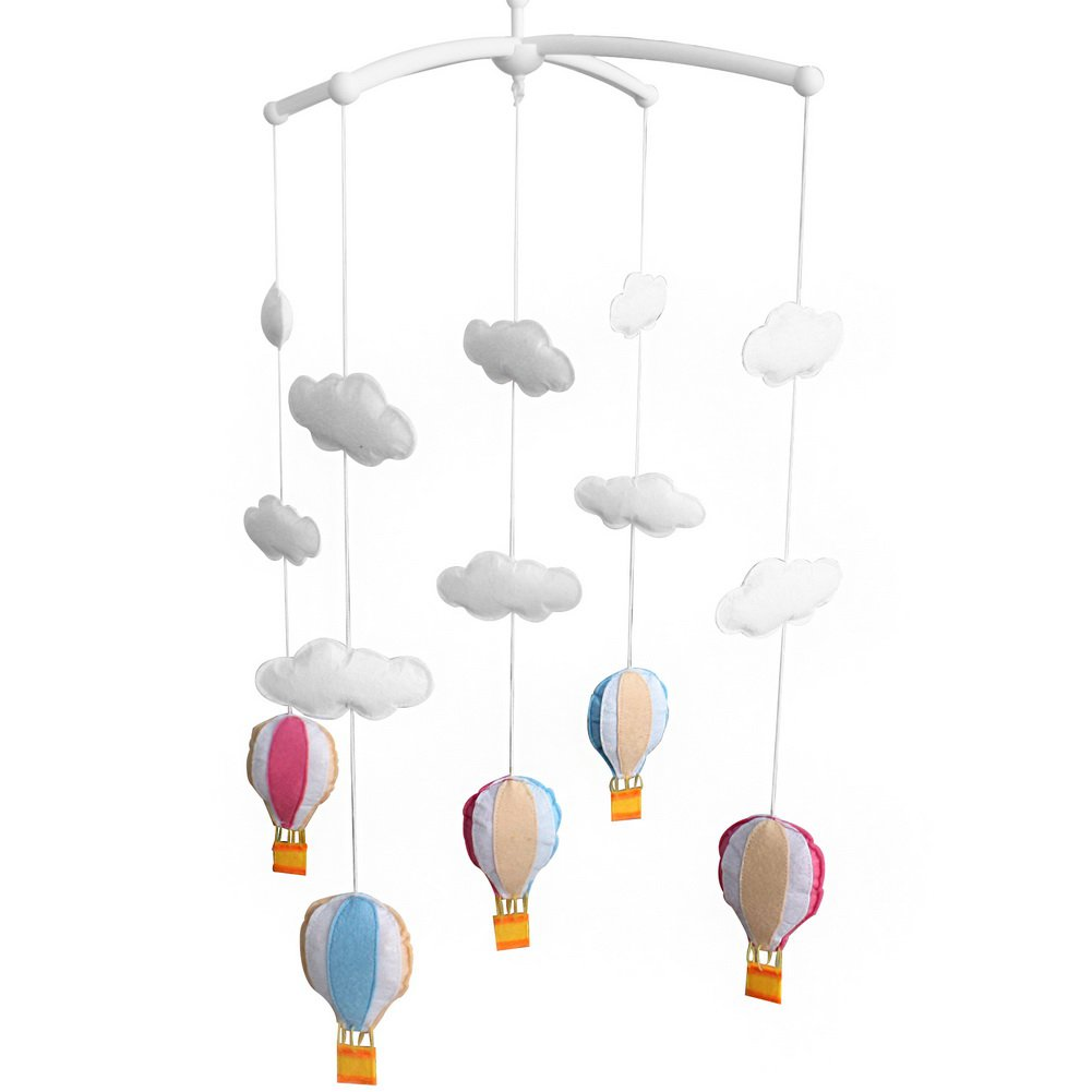 BC-BAB-ONIM0114-BELL-CELI Hot-air Balloon Design Baby Crib Rotatable Bed Bell, Colorful Mobile