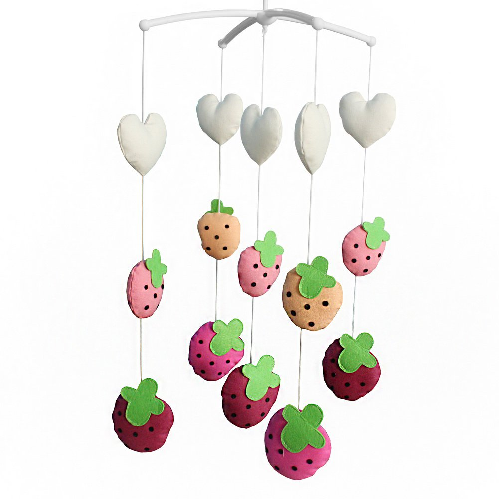 BC-BAB-ONIM0123-BELL-CELI Handmade Canvas Toys Creative Crib Rotatable Musical Mobile [Strawberry]