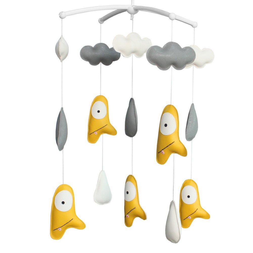 BC-BAB-ONIM0125-BELL-CELI Crib Rotatable Musical Mobile Handmade Hanging PU Leather Toys