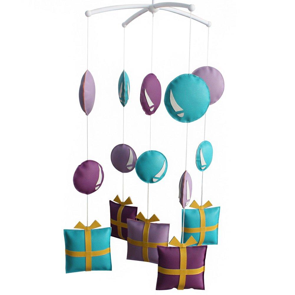 BC-BAB-ONIM0130-BELL-CELI Pretty Nursery Rotatable Musical Mobile [Purple Tones] Handmade Hanging To