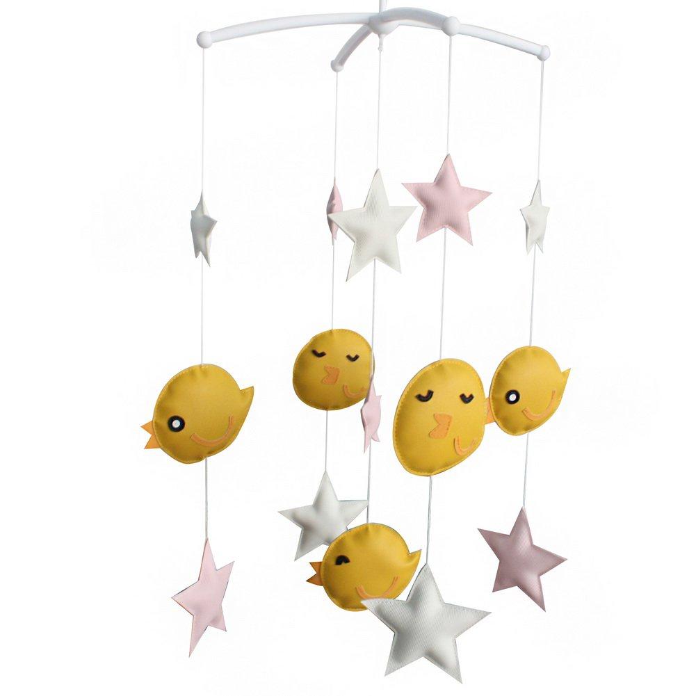 BC-BAB-ONIM0131-BELL-CELI Creative Nursery Rotatable Musical Mobile Handmade Toys [Happy Birds]