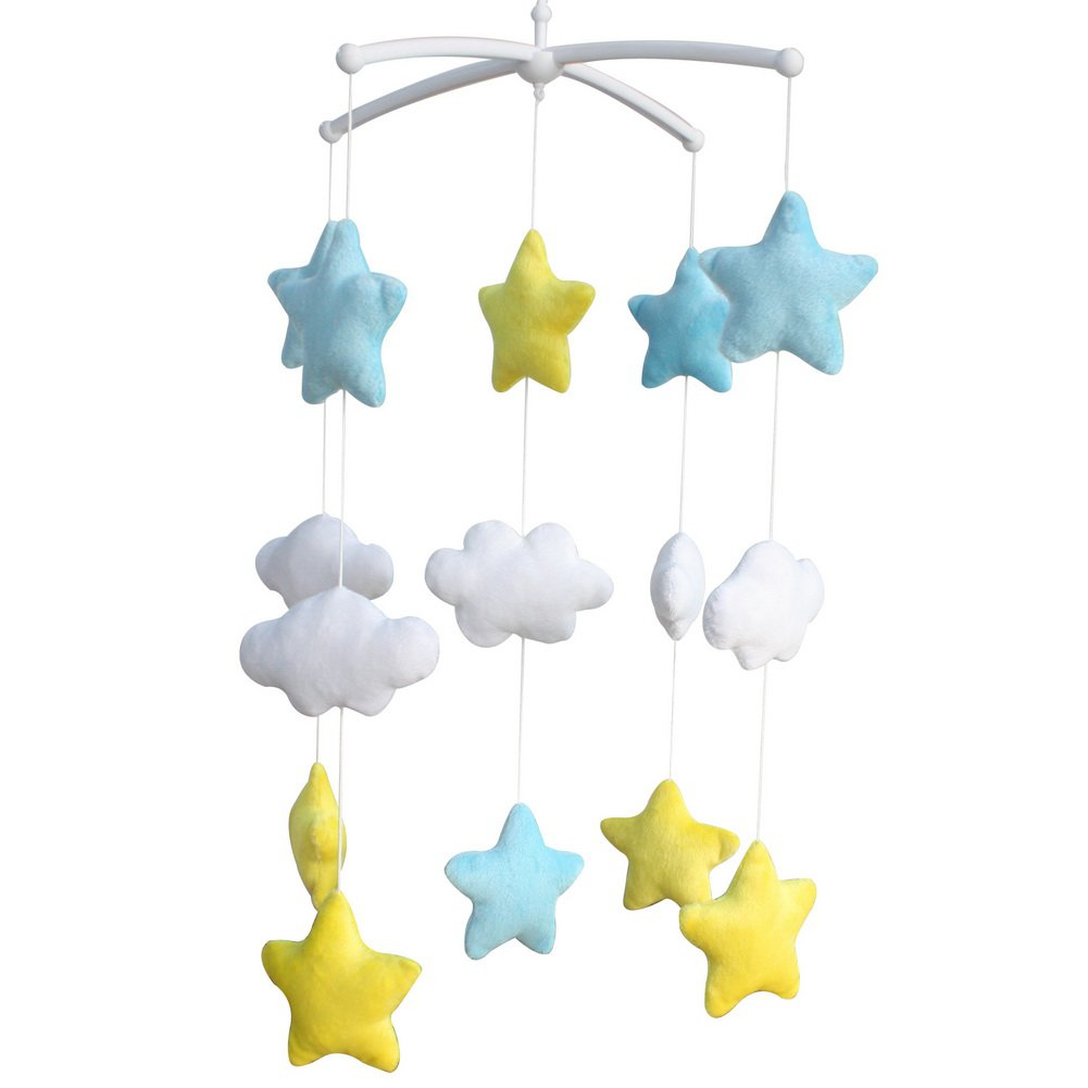 BC-BAB-ONIM0145-WING-CELI [Shiny Stars] Adorable Baby Crib Decoration Music Mobile