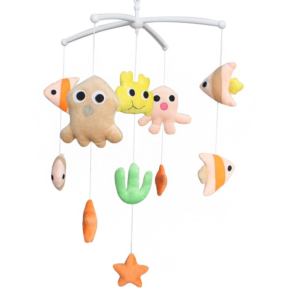 BC-BAB-ONIM0146-WING-CELI Adorable Baby Crib Decoration Music Mobile [Marine Life] Cute Bed Bell
