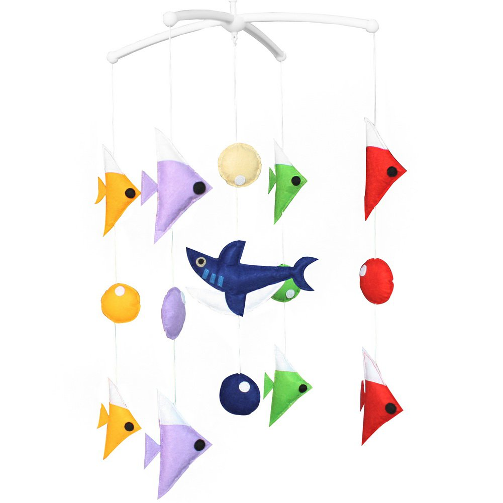 BC-BAB-ONIM0154-WING-CELI Crib Musical Hanging Rotate Bell Ring Rattle Mobile Toy [Shark]