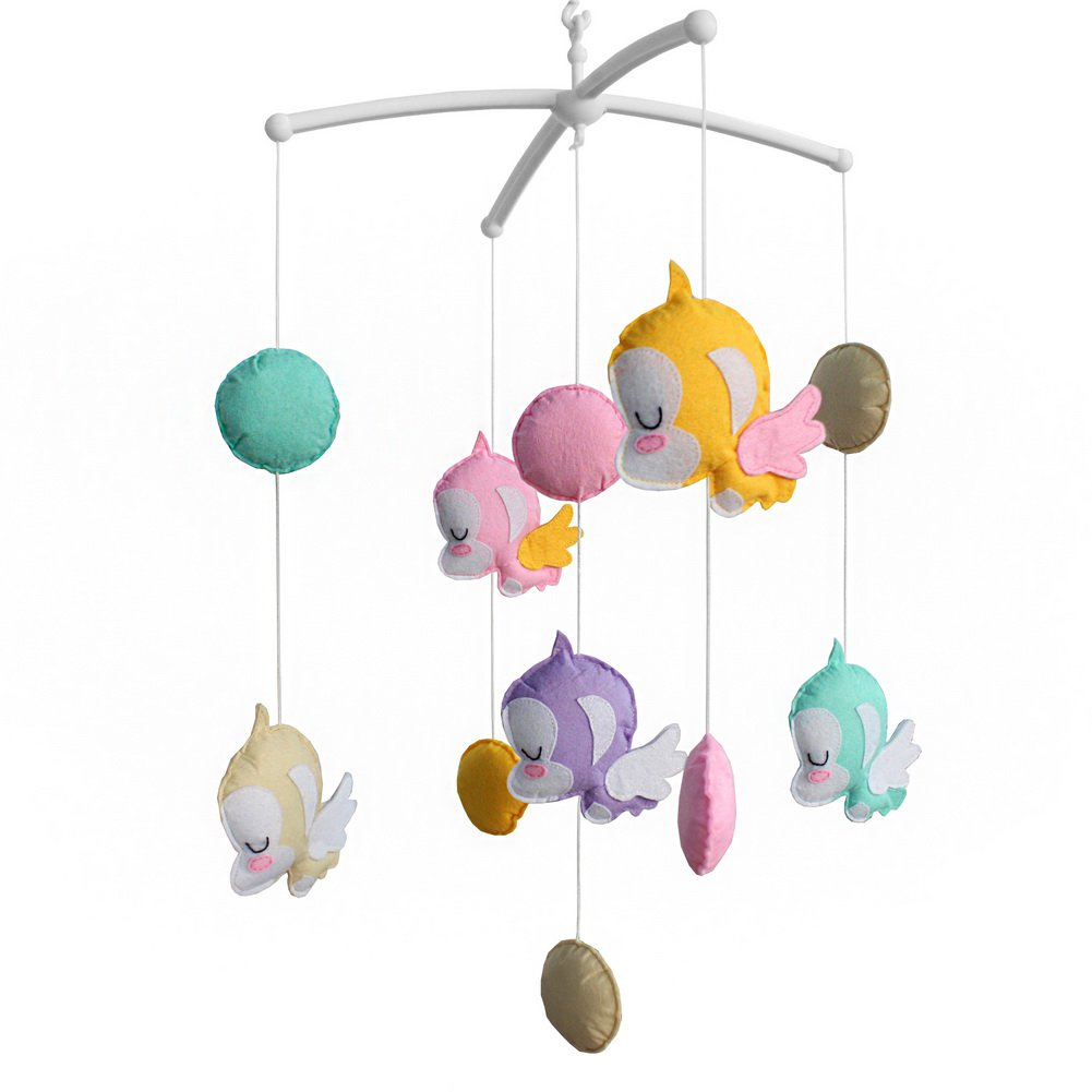 BC-BAB-ONIM0157-WING-CELI Exquisite Musical Baby Mobile for Crib, Colorful Hanging Monkey Toys