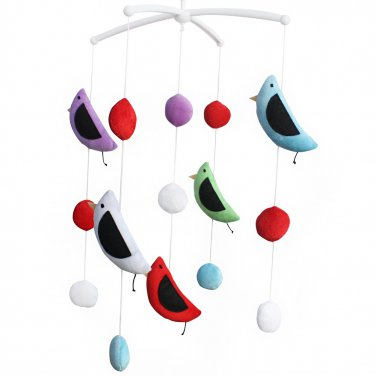 BC-BAB-ONIM0159-WING-CELI Musical Baby Crib Mobile for Unisex Baby, Colorful Bird Toys