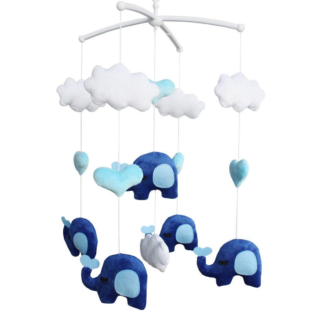 BC-BAB-ONIM0164-BELL-CELI Super Cute Infant Crib Musical Mobile, Handmade Hanging Plush Toys [Elepha