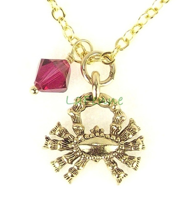 July Cancer Zodiac Ruby Swarovski Birthstone Gold Plated Astrology Necklace, Made in USA