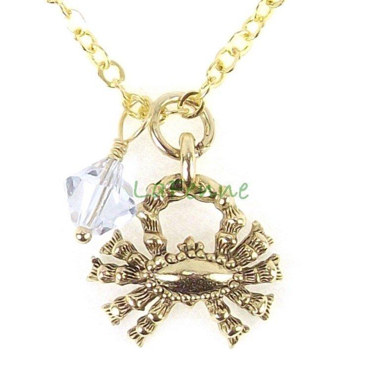 June Cancer Zodiac Alexandrite Swarovski Birthstone Gold Plated Astrology Necklace
