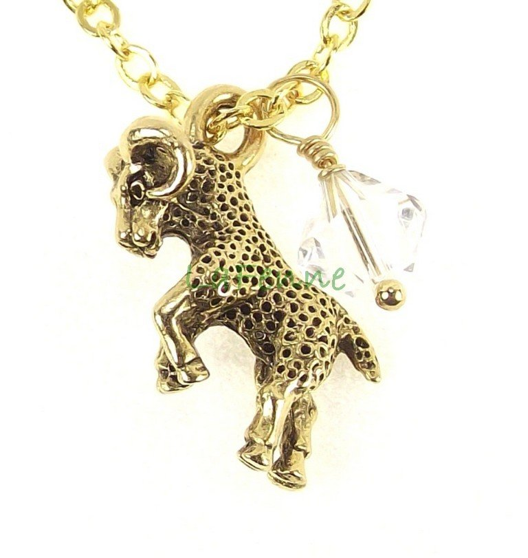 April Zodiac Aries Crystal Swarovski Birthstone Gold Plated Astrology Necklace, Made in USA