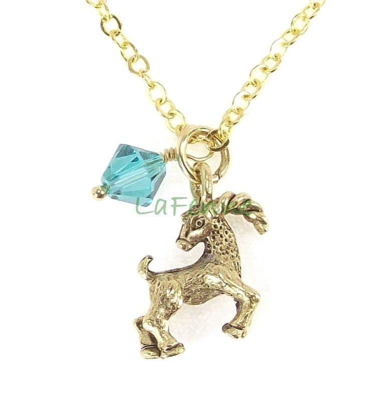 December Capricorn Blue Zircon Swarovski Birthstone Gold Plated Astrology Zodiac Necklace