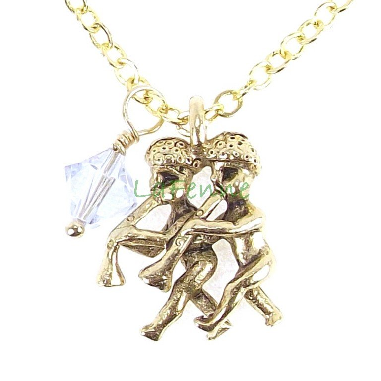 June Gemini Zodiac Alexandrite Swarovski Birthstone Gold Plated Astrology Necklace, Made in USA