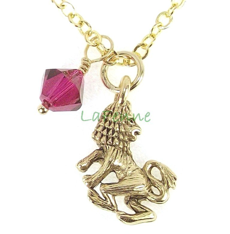 July Leo Zodiac Ruby Swarovski Birthstone Gold Plated Astrology Necklace, Made in USA