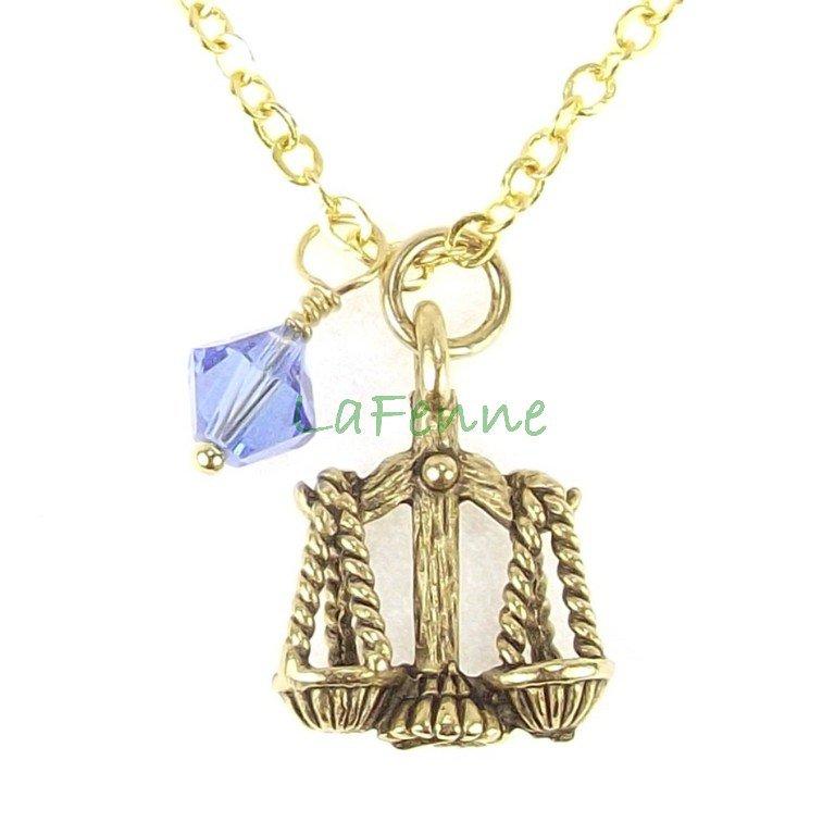 September Libra Zodiac Sapphire Swarovski Birthstone Gold Plated Astrology Necklace, Made in USA