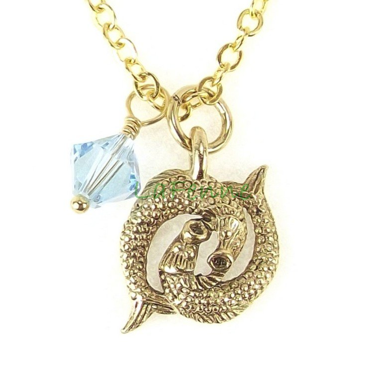 March Pisces Zodiac Aquamarine Swarovski Birthstone Gold Plated Astrology Necklace, Made in USA
