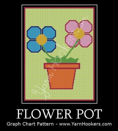 Flower Pot - Afghan Crochet Graph Pattern Chart