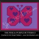 Pink & Purple Heart Butterfly - Afghan Crochet Graph Pattern Chart