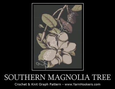Southern Magnolia Tree - Afghan Crochet Graph Pattern Chart