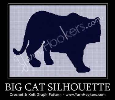 Big Cat Silhouette - Afghan Crochet Graph Pattern Chart