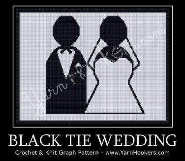 Black Tie Wedding - Afghan Crochet Graph Pattern Chart