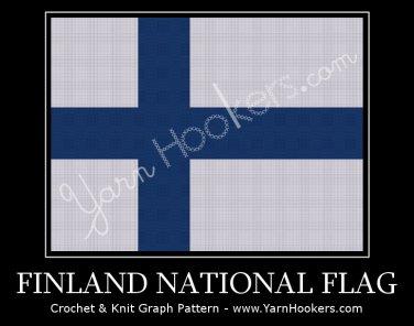 Finland National Flag - Afghan Crochet Graph Pattern Chart