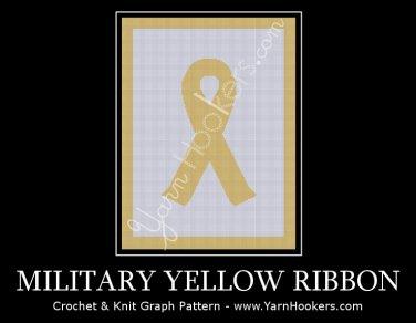 Military - Yellow Ribbon - Afghan Crochet Graph Pattern Chart
