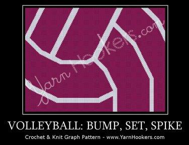 Volleyball: Bump, Set, Spike - Afghan Crochet Graph Pattern Chart