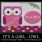 It's a GIRL - OWL - Afghan Crochet Graph Pattern Chart