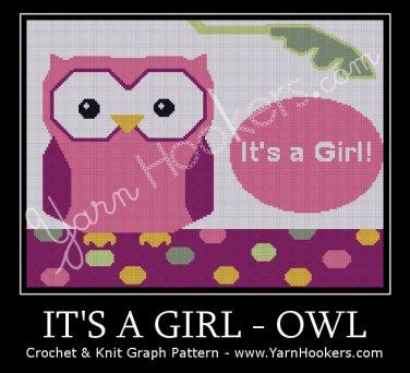 It's a GIRL - OWL - Afghan Crochet Graph Pattern Chart