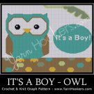 It's a BOY - OWL - Afghan Crochet Graph Pattern Chart