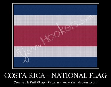 Costa Rican National Flag - Afghan Crochet Graph Pattern Chart