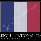 French National Flag - Afghan Crochet Graph Pattern Chart