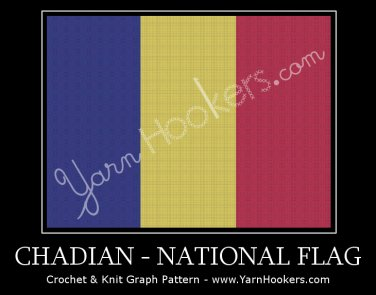 Chadian National Flag- Afghan Crochet Graph Pattern Chart