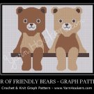 Pair of Friendly Teddy Bears - Afghan Crochet Graph Pattern Chart