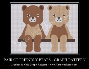 Pair of Friendly Teddy Bears - Afghan Crochet Graph Pattern Chart
