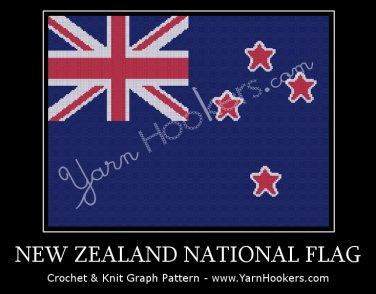New Zealand National Flag - Afghan Crochet Graph Pattern Chart