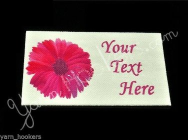 Pink Flower - Iron On / Sew In - 100% Cotton Fabric Labels (White)