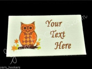 Orange Owl  - Iron On / Sew In - 100% Cotton Fabric Labels (White)